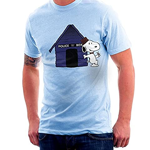 Dr Who Snoopy Tardis Kennel Men's T-Shirt (Charlie Brown Weihnachts-tv-programm)