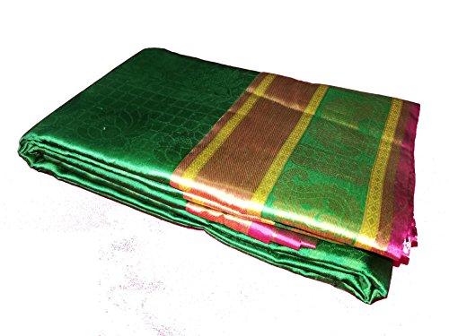 Sreenivasa Sarees Womens Pure Pattu Green and Pink Color Hand Woven Saree