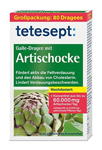 tetesept Galle-Dragee mit Artischocke | Dragees mit Artischockenextrakt - fördert die Fettverdauung und hilft beim Cholesterin Abbau | 1 x 80 Stück [pflanzliches Arzneimittel]