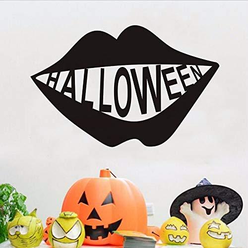 Waofe Halloween Big Lip Vinyl Abnehmbare Wandaufkleber Hohe Qualität Halloween Festival Kunst Wandtattoos Dekoration Zubehör 68 * 44 Cm