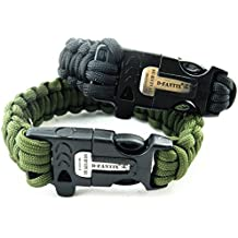 d-fantix pulsera Paracord de Supervivencia con Flint Fire Starter Kits de raspador Silbato de emergencia exterior supervivencia Gear, verde