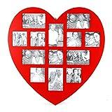 Fotorahmencollage in Herzform für 13 Fotos - rot