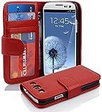 Cadorabo - Book Style Hülle für Samsung Galaxy S3 / S3 NEO (I9300) - Case Cover Schutzhülle Etui mit 3 Kartenfächern in INFERNO-ROT