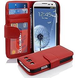 Cadorabo Coque pour Samsung Galaxy S3 / S3 Neo en Rouge Cerise - Housse Protection avec Fermoire Magnétique et 3 Fentes Cartes - Portefeuille Etui Poche Folio Case Cover
