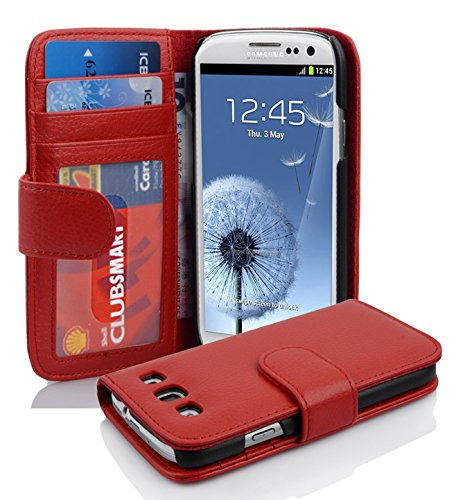 Cadorabo Custodia Libro per Samsung Galaxy S3 / S3 NEO in ROSSO CREMISI – con 3 Vani di Carte e Chiusura Magnetica – Portafoglio Cover Case Wallet Book Etui Protezione
