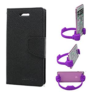 Aart Fancy Wallet Dairy Jeans Flip Case Cover for MotorolaMotoE2 (Black) + Flexible Portable Mount Cradle Thumb OK Designed Stand Holder By Aart Store.