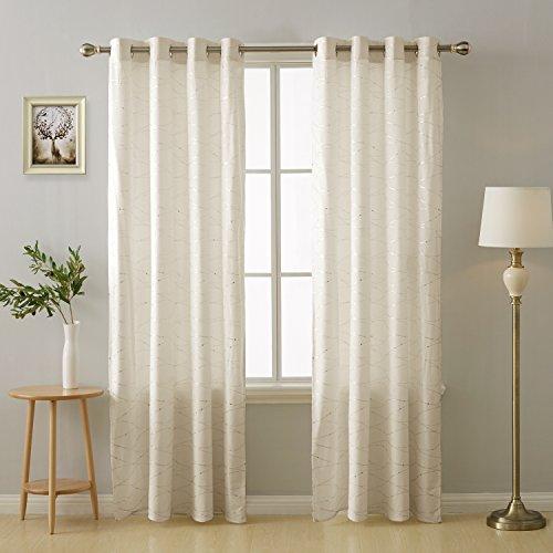 Deconovo tende camera da letto termiche isolanti stampa per finestre cucina con occhielli 140x290cm beige 2 pannelli