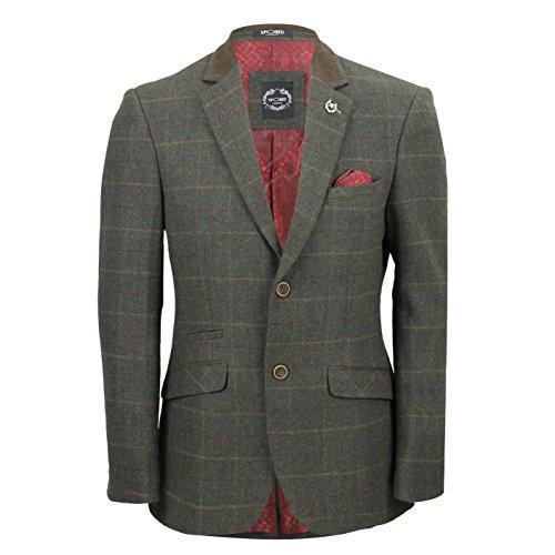 Xposed tweed Check 3tuta Blazer pantaloni da gilet venduto come separa Blazer-Olive Green