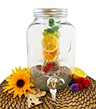 Mary´s Kitchen Tools Getränkespender 4 Liter aus Glas mit Fruchteinsatz | mit Zapfhahn | Wasserspender | Limonadenspender | Saftspender | Bowle | Dispenser | Einmachglas-Design