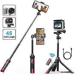 MATONE Bastone Selfie Treppiede 106cm Estensibile Selfie Stick Con Bluetooth Remoto Shutter, Rotazione di 360,Compatibile con iPhone X/8 Plus/7 Plus/6S Plus/ XR / Xs MAX, Galaxy S9 Plus/Note 8 Gopro Fotocamera (nero)