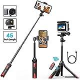 Palo Selfie, Bovon 106CM Palo Selfie Bluetooth Extensible con Trípode y Control Remoto Separado, Selfie Stick Monopod para iPhone XS Max XR 8 7 Plus 6S Plus, Galaxy S9 Plus Note 9, Cámaras GoPro