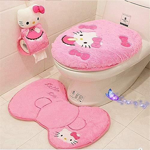 4 teiliges Set/Set Hello Kitty Badezimmer Set Toilettendeckel WC Sitzbezug Bad Pad Set Toilettendeckel Set Weihnachts Dekoration