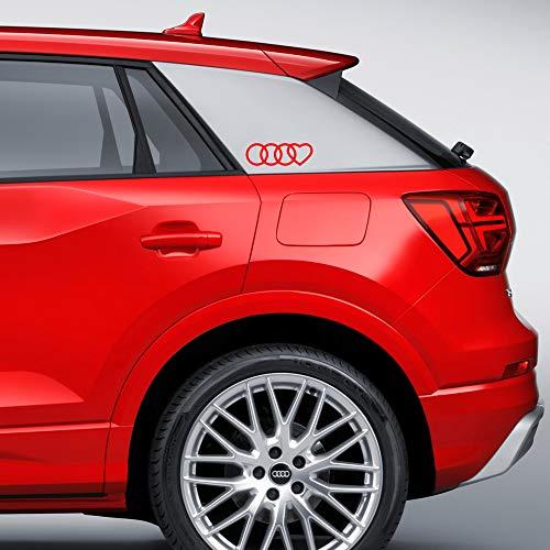 Autodomy Confezione Adesivi Audi Anelli Cuore 2 Pezzi per Auto (Rosso)
