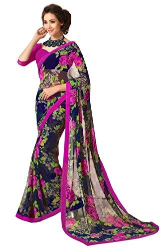 Jaanvi fashion Women's Chiffon Saree With Blouse Piece (Dolphin-01_Blue)
