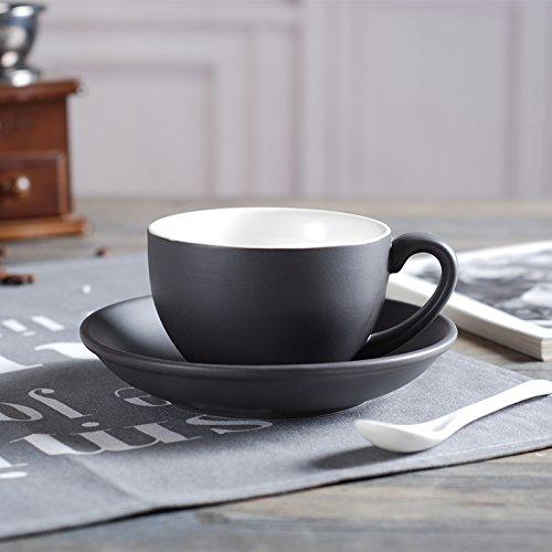 AJUNR-Einfach Und ExquisitMatt Keramik Tasse Teller Große Kapazität Große Garland Kaffee Tasse Eine Tasse Latte Schwarzer Tee Grau