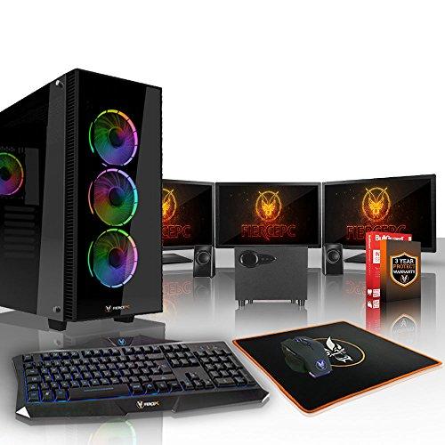 Fierce Viper High-End Gaming PC Bundeln - 3.9GHz Hex-Core AMD Ryzen 5 2600, 1TB SSHD, 16GB, AMD Radeon RX 580 8GB, Tastatur (QWERTY), Maus, 3X 24-Zoll-Monitor, Lautsprecher 400469