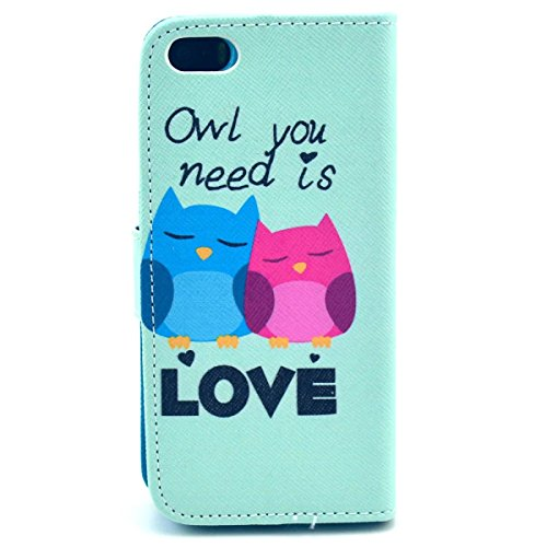 iPhone SE Coque, iPhone 5S Coque, Lifeturt [ Rose hibou ] Leather Case Wallet Flip Protective Cover Protector, Etui de Protection PU Cuir Portefeuille Coque Housse Case Cover Coquille Couverture avec  E02-Owl you need is love