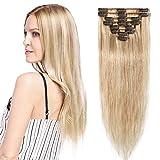 Extension a Clip Cheveux Naturel Rajout Cheveux Humains Vrai Cheveux - 100% Remy Human Hair - 8 Mèches (#18+613 Sable blond Méché Blond très clair, 35cm-60g)