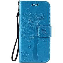 pinlu Flip Funda de Cuero para LG Nexus 5 X 5.2 Carcasa con Función de Stent y Ranuras con Patrón de Gato y Árbol Cover (Azul)
