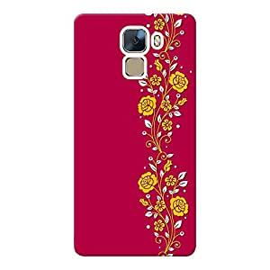 INKIF Blue Pattern Designer Case Printed Mobile Back Cover for Huawei Honor 7(Pink )