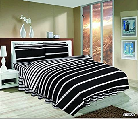 4PC Starlite Polycotton Floral Duvet Cover With Valance Sheet & Pillowcases Complete Bedding Set (KING, STRIPOO