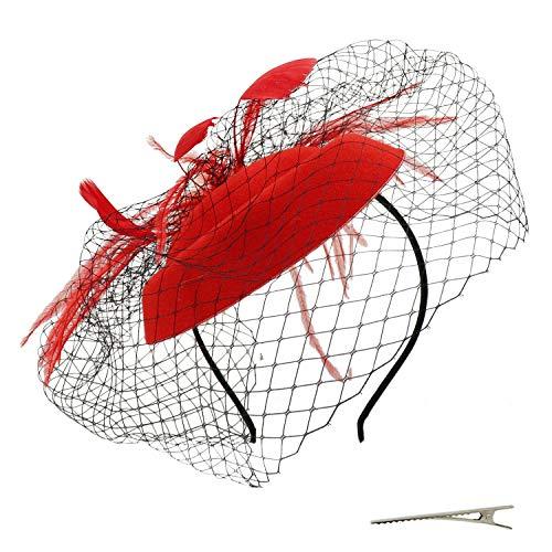 Umeepar Damen Pillbox Fascinator Hut Hochzeit Tea Party Hüte mit Federn Schleier Stirnband Clip (Rot)