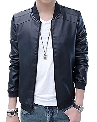 Men's Casual Jacket Faux PU Leather Stand-Collar