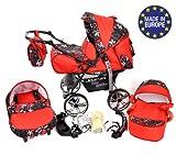Kamil - Sistema de viaje 3 en 1, silla de paseo, carrito con capazo y silla de coche, RUEDAS ESTÁTICAS y accesorios (Sistema de viaje 3 en 1, rojo, flores coloridas)