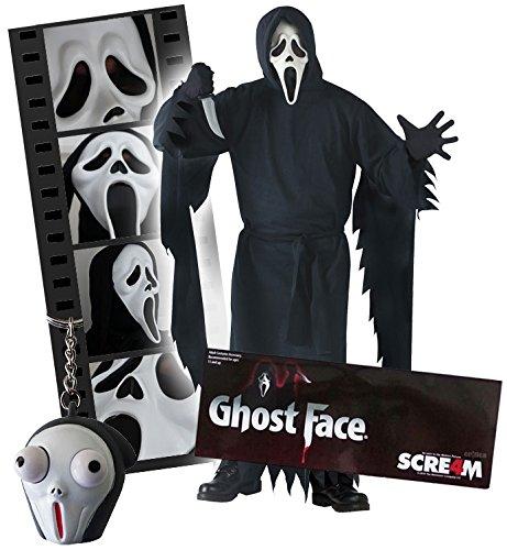 plett Set Scream Ghostface Maske, Kostüm X-XL, Gürtel, Messer, Handschuhe und Pop Eye Screamy Schlüsselanhänger (X-kostüm)