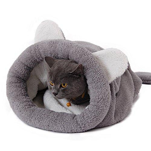 Pawz Road Katzen Schlafsack Waschbar bequem Haustier Kissen Katzenbett Kuschelhöhlee aus Fleece für Katzen, Kleintiere oder Welpen 60X58CM Grau
