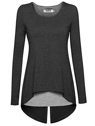 DJT Damen Langarmshirt Rundkragen Asymmetrisch Faux Twinset T-Shirt Grau-Grau M