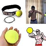 Xshuai Mode-Design Cool Übung Praxis Kampf Ball mit Kopfband für Reflex Speed Training Boxen Boxen Punch Übung für MMA, Kampf, Mixed Martial Arts MMA, Kickboxen, Muay Thai, Taekwondo, Lethwei, Burmese (Gelb / Rot) (Gelb)