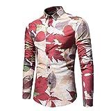 Ahornblätter Bedrucktes Hemd, Kobay Mode Persönlichkeit Herren Beiläufig Schlank Langärmelig Ahornblätter Bedrucktes Hemd Shirt Top Bluse
