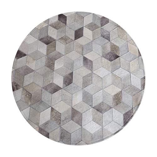 Runder Teppich, cremefarbene Teppiche Für Wohnzimmer Teppiche Flur Bodenteppiche Wohnzimmer Schminktisch Matte Grauer Runder Leder-Studierteppich Kunstlederdecke Dreidimensionaler Muster-Tep