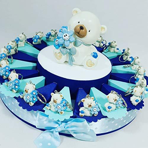 Bomboniere orsetti portachiavi nascita, battesimo bimbo confezionati o fai da te a seconda della scelta … (torta 1 piano 20 fette a)