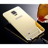 Samsung Galaxy Note 4Funda de Espejo, Ultra Thin Aleación de aluminio metal enchapado electroplate Bumper Panel Trasero Carcasa rígida para Samsung Galaxy Note 4, metal, dorado, Samsung Galaxy Note 4
