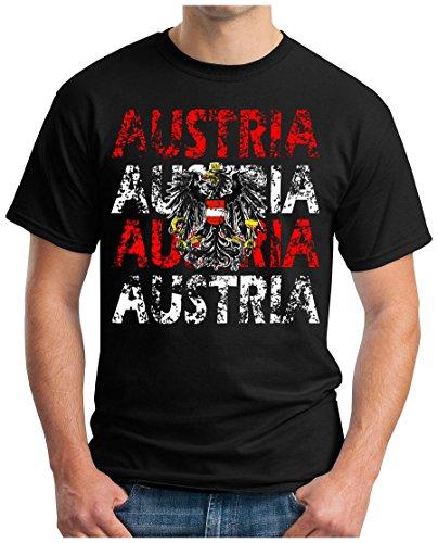 OM3 – AUSTRIA – T-Shirt ÖSTERREICH EM 2016 FRANKREICH FRANCE FUSSBALL FANSHIRT SOCCER SPORT TRIKOT EUROPAMEISTER, XL, schwarz