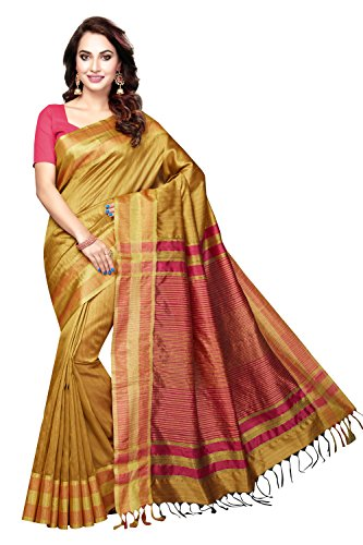 Rani Saahiba Women's Art Dupion Silk Zari Border Saree ( VSH2_Gold )