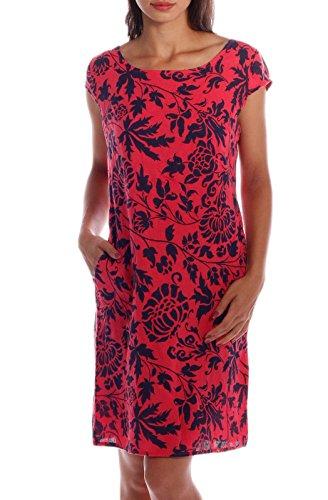 CHARIS MODA Leinen Kleid im Paisley-Design Kurzarm Summer Collection (XL = 40, Koralle-Blau) Paisley Mode