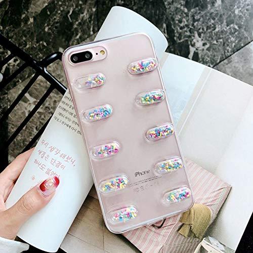 EOXO Handyhüllen iPhone X 3D Nette Kapsel Pillen Person Telefon Fall Für iPhone XS Xr Xs Max X 8 7 6 6 S Plus Transparente Weiche TPU Back Cover Fällen B for iPhone 6 6S (Fall Große Pille)