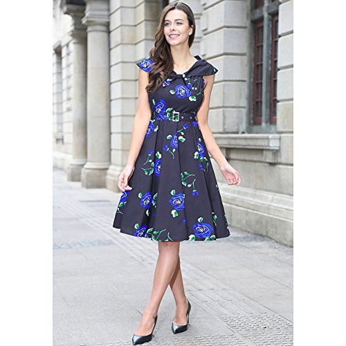 Vestito Corto Donna Casuale Farfalle stampa Dress Beach Nero Rose-blu