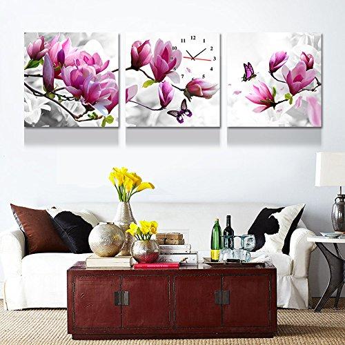 olileio Moderne und minimalistische Gemälde schmücken die drei-Schlafzimmer Sofa im Wohnzimmer Wandmalerei Wandmalerei der Box Blumen Malerei Wanduhr, kristallklares 50* 50,25mm Dicke von Film, Muck (Muck Film)