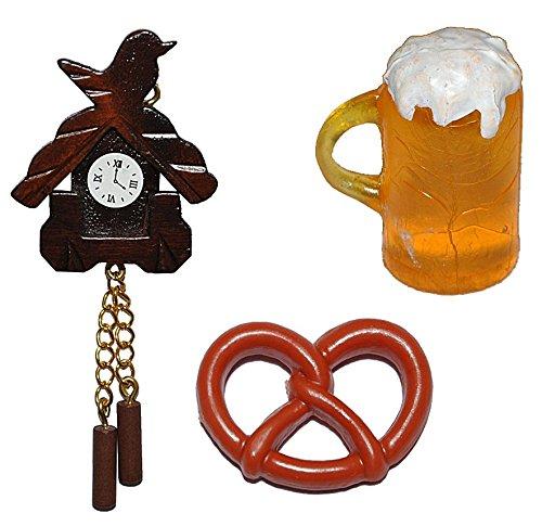 3 tlg. Set: Miniatur Brezel / Brezn + Bierkrug + Kuckucksuhr - bayrisches Frühstück - für Puppenstube Maßstab 1:12 - Brezeln Puppenhaus Puppenküche Küche Weiswurst Bayern Schwarzwald