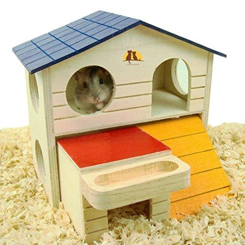 Emours Pet Kleiner Animal Schlupfloch Hamster Haus Deluxe Zwei Schichten Holz Hütte Play Toys Kaubonbons mit natürlichem Holz Chips