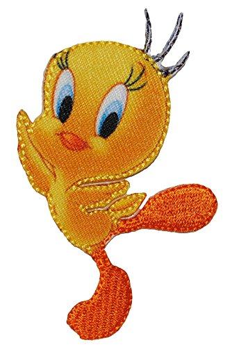 alles-meine.de GmbH Bügelbild - Looney Tunes - Vogel Tweety - 5,4 cm * 7,4 cm - Sylvester Comic Figur - Aufnäher Applikation - gewebter Flicken - Aufbügler - Looneytunes Cartoonf..