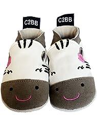 C2BB - Chaussons de bebe cuir souple garçon brodé   Zèbre gris