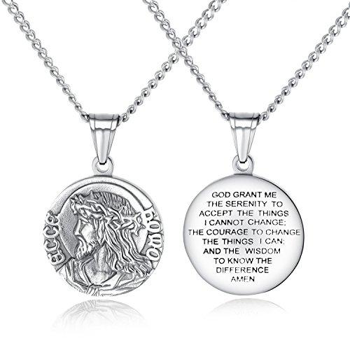 Rinspyre Herren Damen Edelstahl Gelassenheit Gebetskette Jesus Christus Dornenkrone Anhänger Silber (Kreuz Mit Dornenkrone)