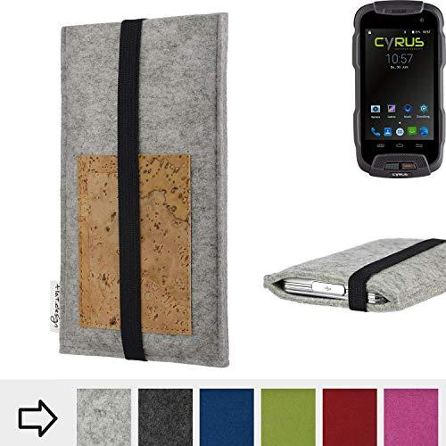 flat.design für Cyrus CS 23 Handyhülle Case Sintra mit Kartenfach (Natur) und Gummiband-Verschluss (schwarz) - passgenaue Smartphone Tasche Schutz Hülle aus 100% Wollfilz (hellgrau) für Cyrus CS 23