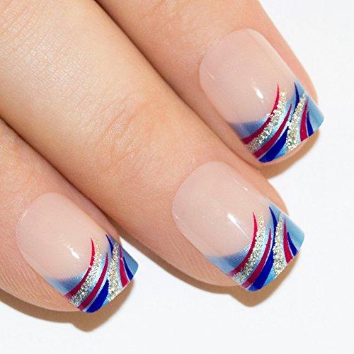 Bling Art Falsche Nägel Französisch Maniküre Glitzer-Wave-Blau 24 Medium (Gefälschte Nägel Blau)