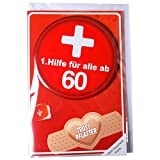 Geldgeschenk-Karte 60 60ster Geburtstag 1.Hilfe Metall Button Glückwunschkarte Trostpflaster